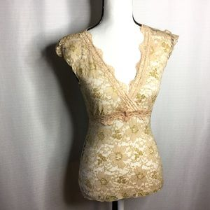 MIA MOA Gold Lace Sheer Deep V-Neck Fitted Blouse